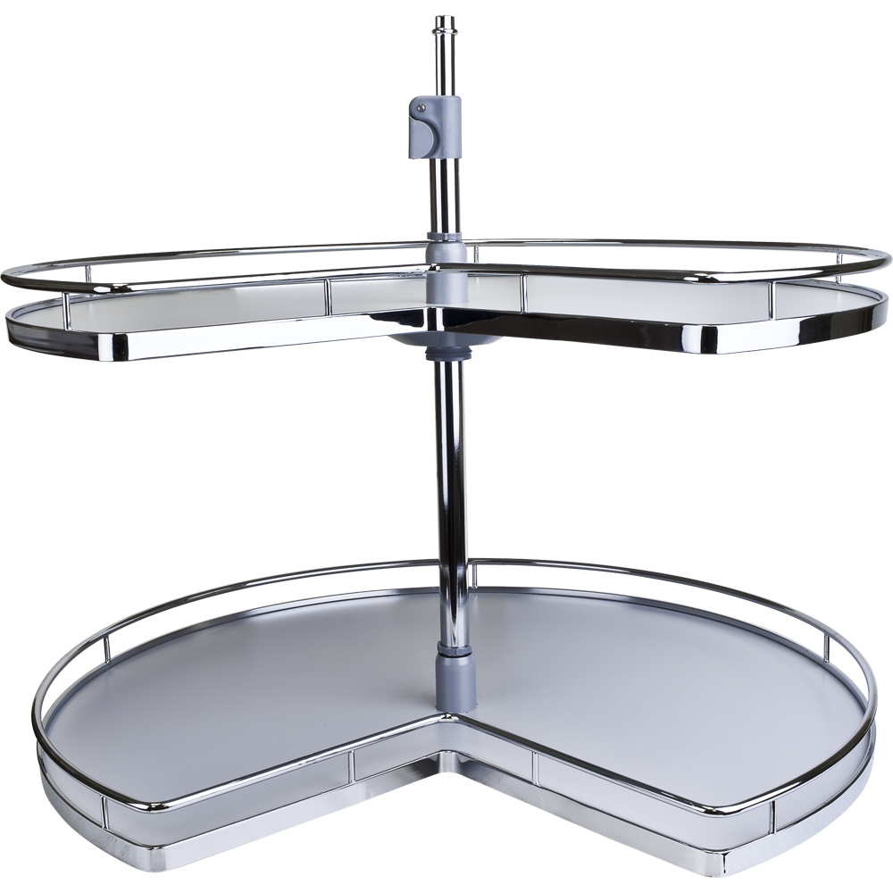 Two Shelf Kidney Shape Chrome Plated Lazy Susan All