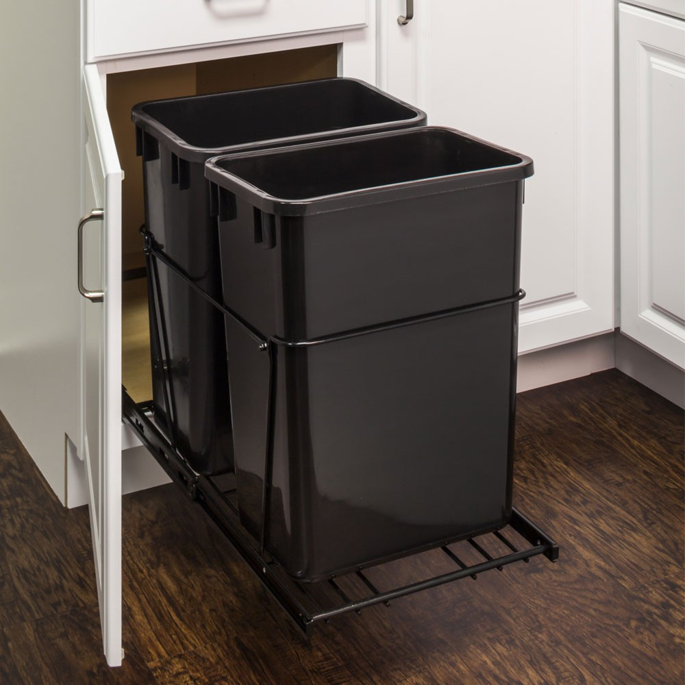 Kitchen Garbage Can Cabinet: Double 35 Quart Trash Can Pullout