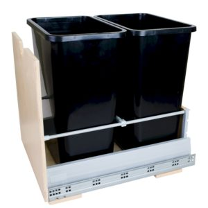 Double 35 Quart Trash Pullout using Soft Close Glides. Trash cans available in Black, White, or Grey