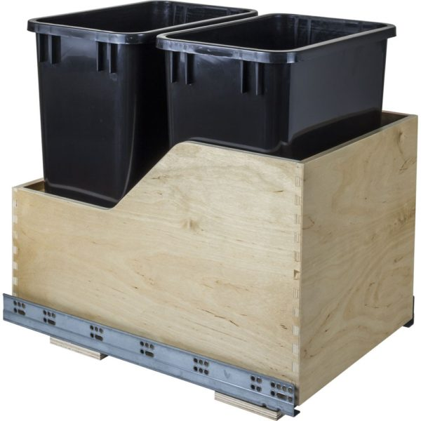 Wood Can Enclosure Double 35 Quart Waste Pullout