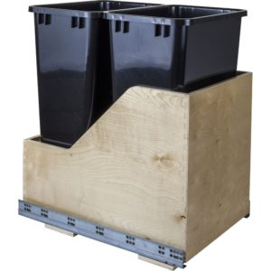 Wood Can Enclosure Double 50 Quart Waste Pullout available with White, Black, or Grey trash cans.