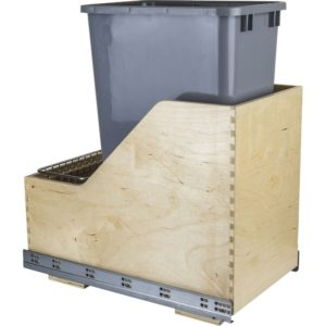Wood Can Enclosure Single 50 Quart Waste Pullout available with White, Black, or Gray heavy duty trash cans.