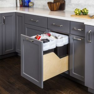 Wood Can Enclosure Double 35 Quart Waste Pullout Door Mount is mounted on 21 inch full extension soft close under mount drawer glides. Available colors of trash cans are White, Black, and Grey.